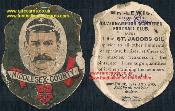1890s Andrew E Stoddart cricketer of the year 1893 Middx BARBARIANS rugby Baines card